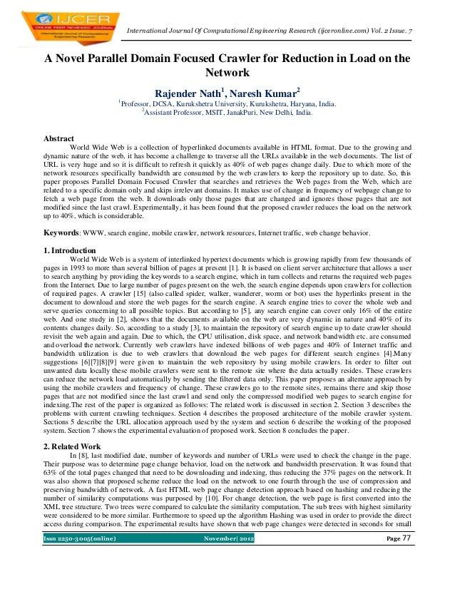 International Journal Of Computational Engineering Research (ijceronline.com) Vol. 2 Issue. 7A Novel Parallel Domain Focus...