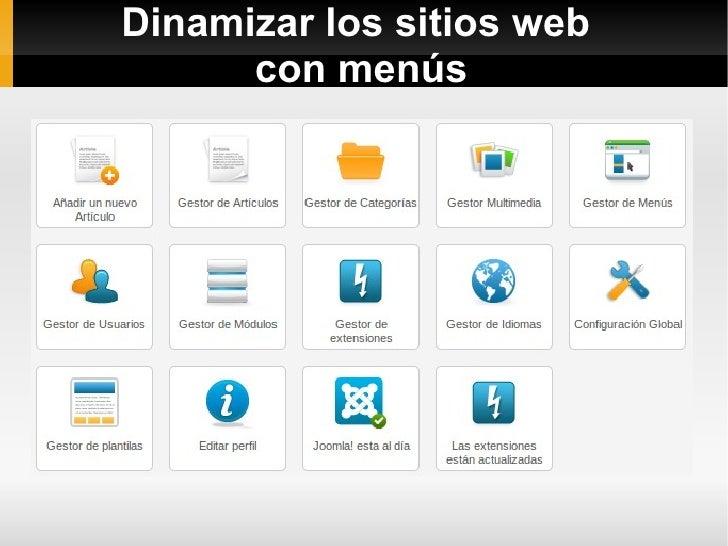 Dinamizar los sitios web      con menús