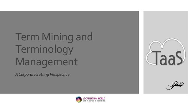 Term Mining and Terminology Management A Corporate Setting Perspective