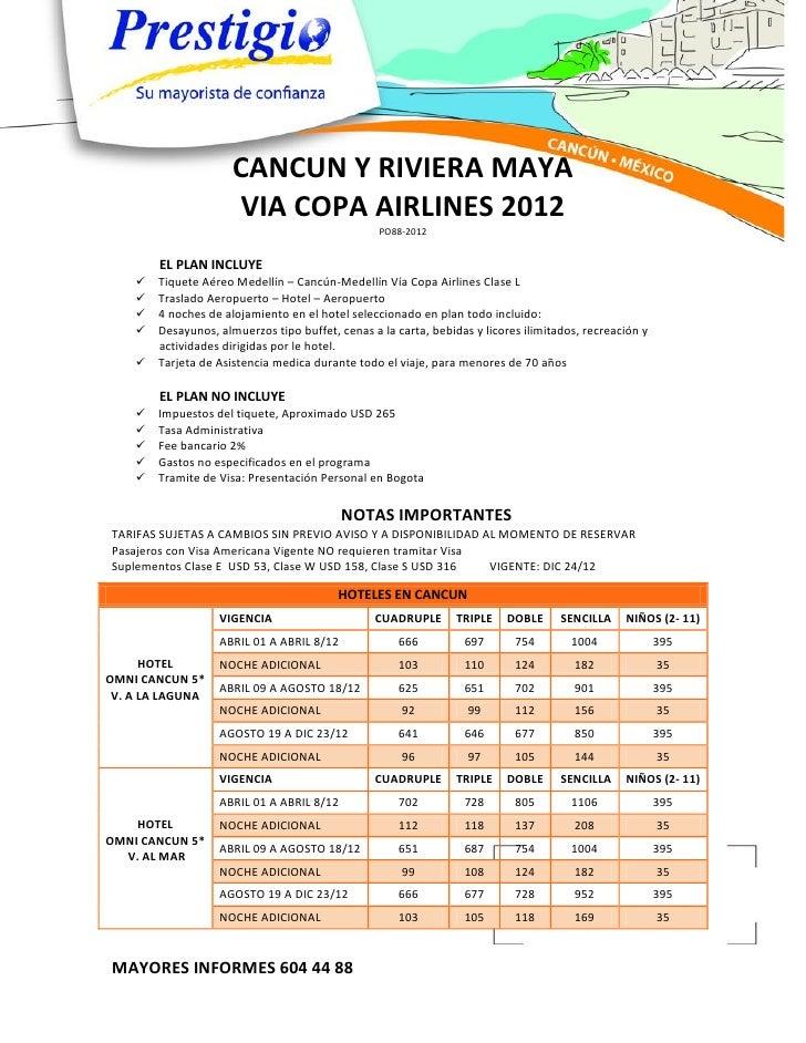 CANCUN Y RIVIERA MAYA                      VIA COPA AIRLINES 2012                                                 PO88-201...