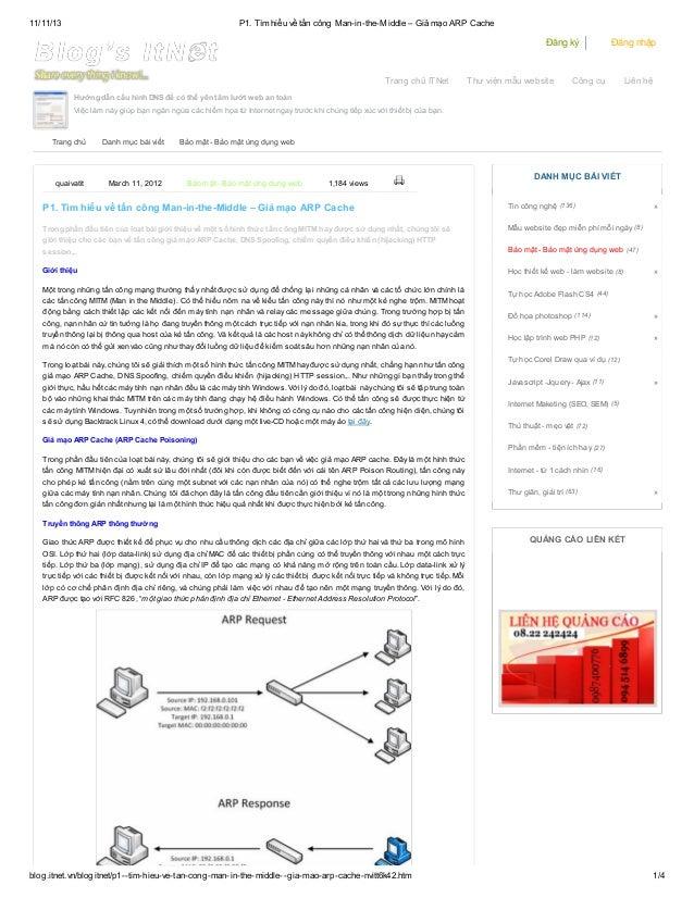 11/11/13  P1. Tìm hiểu về tấn công Man-in-the-Middle – Giả mạo ARP Cache  Đăng ký  Trang chủ ITNet  Thư viện mẫu website  ...