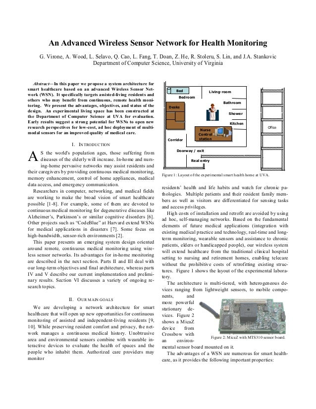 An Advanced Wireless Sensor Network for Health Monitoring G. Virone, A. Wood, L. Selavo, Q. Cao, L. Fang, T. Doan, Z. He, ...