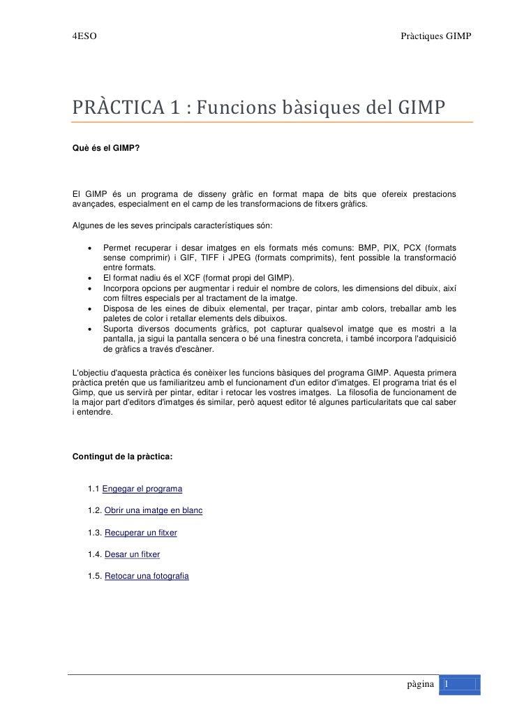4ESO                                                                                     Pràctiques GIMP     PRÀCTICA 1 : ...
