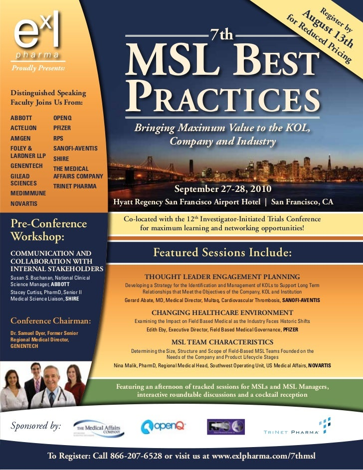 ExL Pharma's 7th Medical Science Liaison Best Practices Conference, September, San Francisco