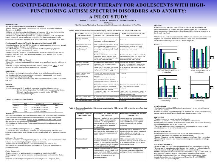 COGNITIVE-BEHAVIORAL GROUP THERAPY FOR ADOLESCENTS WITH HIGH-FUNCTIONING AUTISM SPECTRUM DISORDERS AND ANXIETY: A PILOT ST...