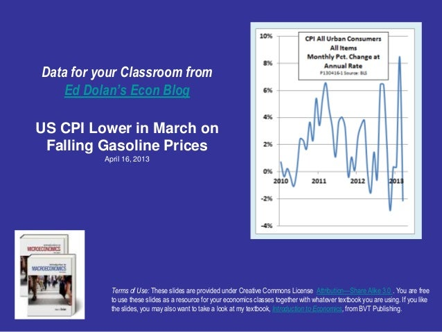 Data for your Classroom from    Ed Dolan's Econ BlogUS CPI Lower in March on Falling Gasoline Prices          April 16, 20...