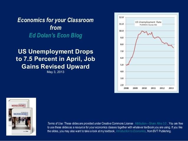 Economics for your ClassroomfromEd Dolan's Econ BlogUS Unemployment Dropsto 7.5 Percent in April, JobGains Revised UpwardM...
