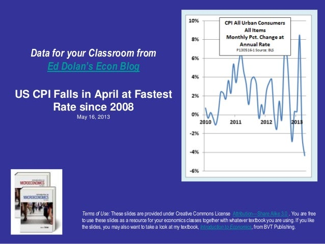 Data for your Classroom fromEd Dolan's Econ BlogUS CPI Falls in April at FastestRate since 2008May 16, 2013Terms of Use: T...