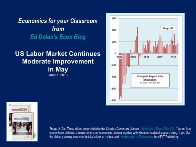 Economics for your ClassroomfromEd Dolan's Econ BlogUS Labor Market ContinuesModerate Improvementin MayJune 7, 2013Terms o...