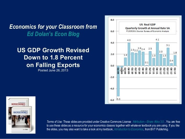 Economics for your Classroom fromEd Dolan's Econ BlogUS GDP Growth RevisedDown to 1.8 Percenton Falling ExportsPosted June...