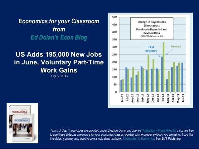 Economics for your Classroom from Ed Dolan's Econ Blog US Adds 195,000 New Jobs in June, Voluntary Part-Time Work Gains Ju...