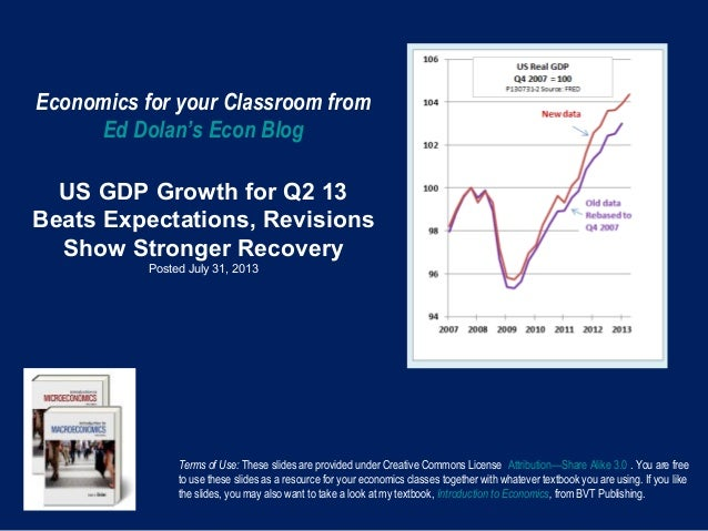Economics for your Classroom from Ed Dolan's Econ Blog US GDP Growth for Q2 13 Beats Expectations, Revisions Show Stronger...