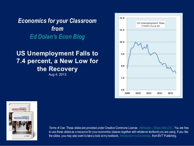 Economics for your Classroom from Ed Dolan's Econ Blog US Unemployment Falls to 7.4 percent, a New Low for the Recovery Au...