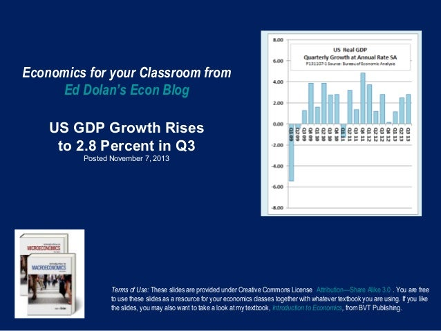 Economics for your Classroom from Ed Dolan's Econ Blog US GDP Growth Rises to 2.8 Percent in Q3 Posted November 7, 2013  T...