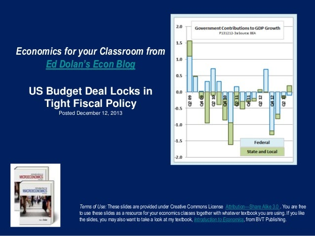 Economics for your Classroom from Ed Dolan's Econ Blog US Budget Deal Locks in Tight Fiscal Policy Posted December 12, 201...