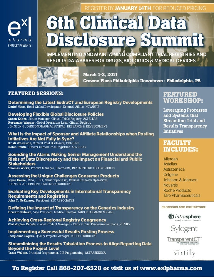 RegisteR by JANUARy 14Th foR Reduced PRicing                           6th Clinical DataPROUDLY PRESENTS           Disclos...