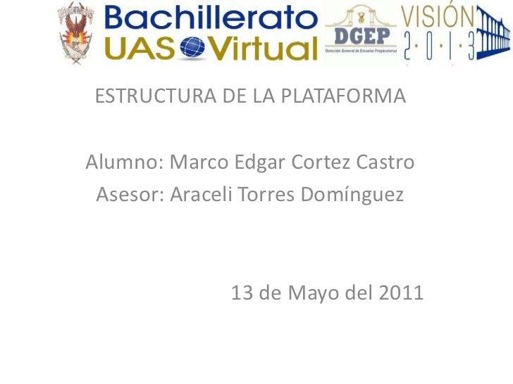 ESTRUCTURA DE LA PLATAFORMA<br />Alumno: Marco Edgar Cortez Castro<br />Asesor: Araceli Torres Domínguez<br />13 de Mayo d...