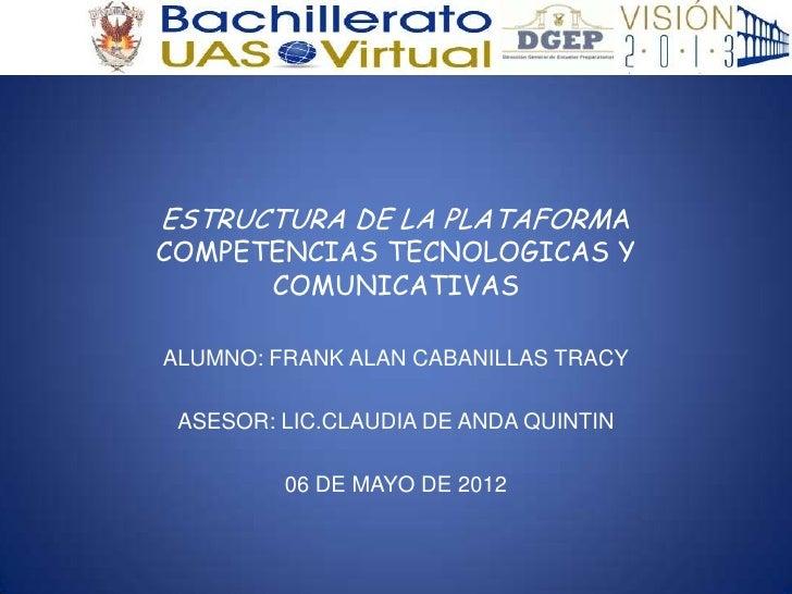 ESTRUCTURA DE LA PLATAFORMACOMPETENCIAS TECNOLOGICAS Y      COMUNICATIVASALUMNO: FRANK ALAN CABANILLAS TRACY ASESOR: LIC.C...