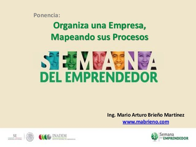 Ponencia: Organiza una Empresa, Mapeando sus Procesos Ing. Mario Arturo Brieño Martínez www.mabrieno.com