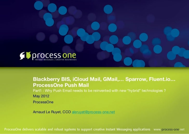Blackberry BIS, iCloud Mail, GMail,… Sparrow, Fluent.io…!ProcessOne Push Mail !Part1 : Why Push Email needs to be reinvent...
