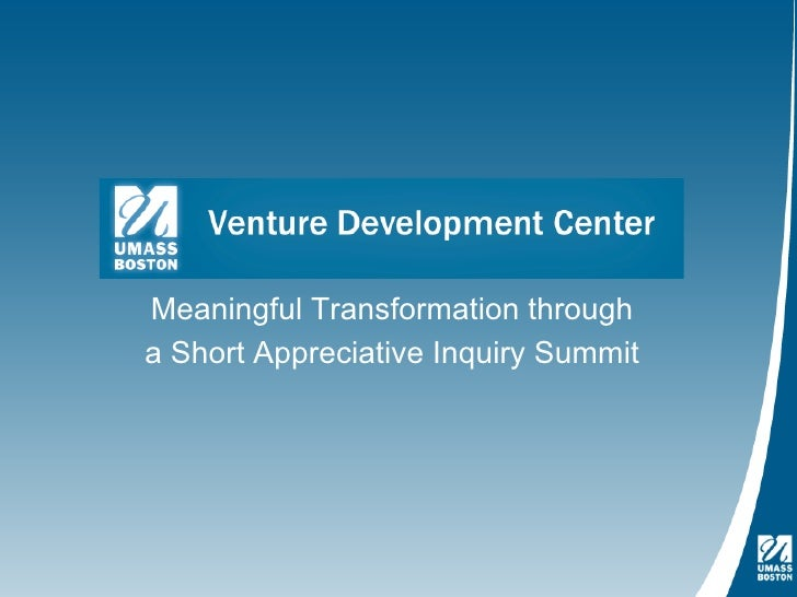 Meaningful Transformation througha Short Appreciative Inquiry Summit