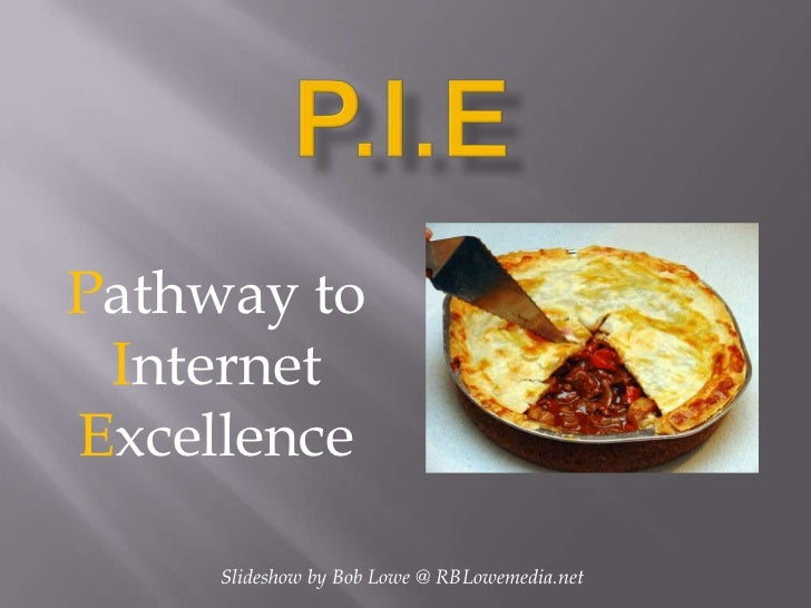P.I.E<br />Pathway to<br />Internet<br />Excellence<br />Slideshow by Bob Lowe @ RBLowemedia.net<br />