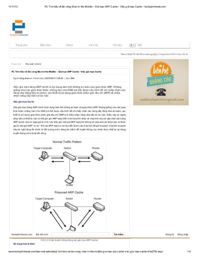 P2. tìm hiểu về tấn công man in-the-middle – giả mạo arp cache - việc giả mạo cache