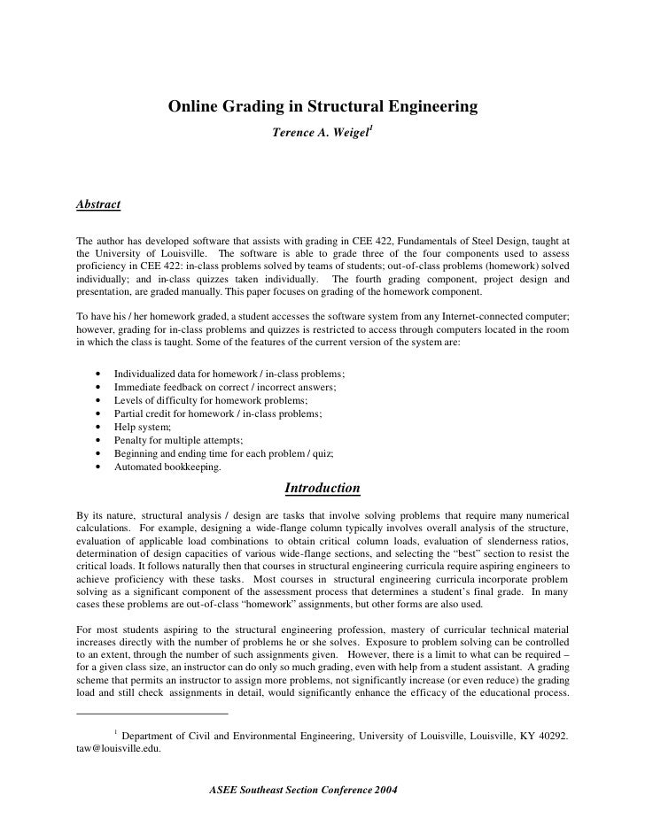 Online Grading in Structural Engineering                                                Terence A. Weigel1     Abstract  T...
