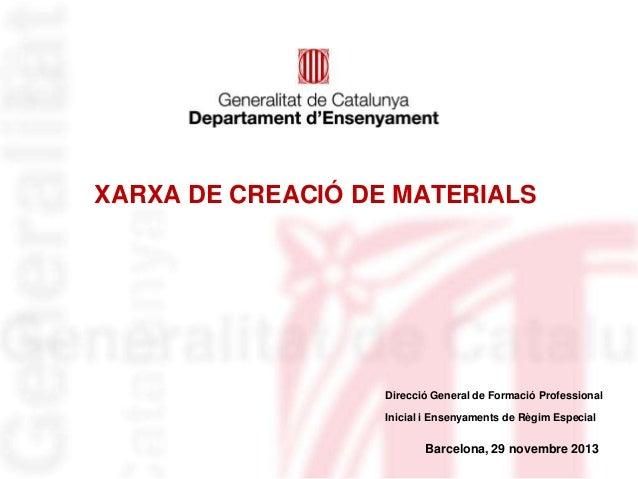 XARXA DE CREACIÓ DE MATERIALS  Direcció General de Formació Professional  Inicial i Ensenyaments de Règim Especial  Barcel...