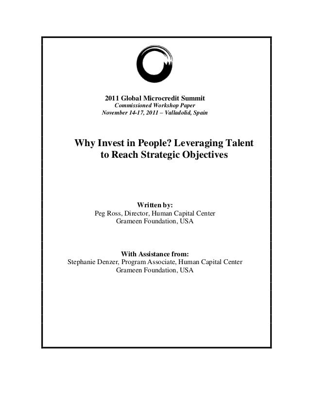 2011 Global Microcredit Summit               Commissioned Workshop Paper           November 14-17, 2011 – Valladolid, Spai...