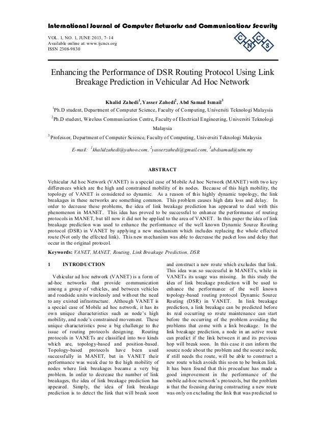 Enhancing the Performance of DSR Routing Protocol Using Link Breakage Prediction in Vehicular Ad Hoc Network