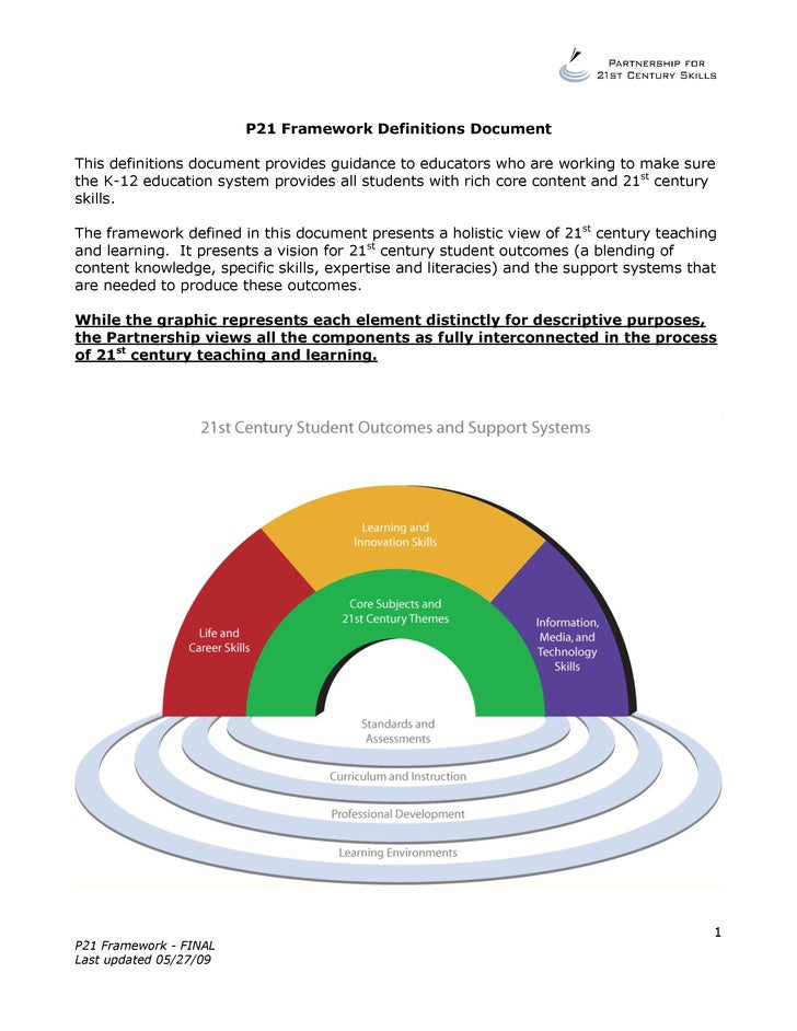 P21 Framework Definitions Document  This definitions document provides guidance to educators who are working to make sure ...