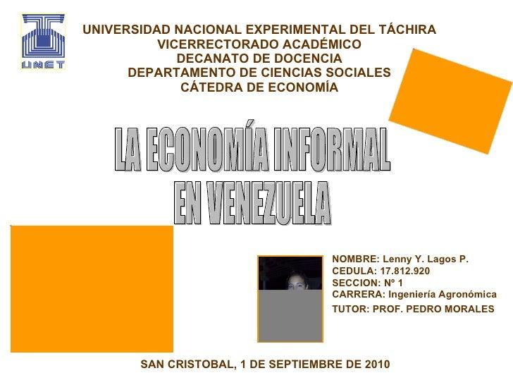 UNIVERSIDAD NACIONAL EXPERIMENTAL DEL TÁCHIRA VICERRECTORADO ACADÉMICO DECANATO DE DOCENCIA DEPARTAMENTO DE CIENCIAS SOCIA...
