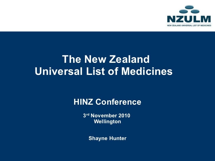 The New Zealand Universal List of Medicines