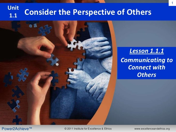 1  Unit  1.1     Consider the Perspective of Others                                                                 Lesson...