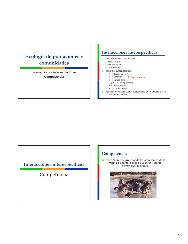 Interacciones interespecíficas Ecología de poblaciones y            Interacciones basadas en:       comunidades           ...