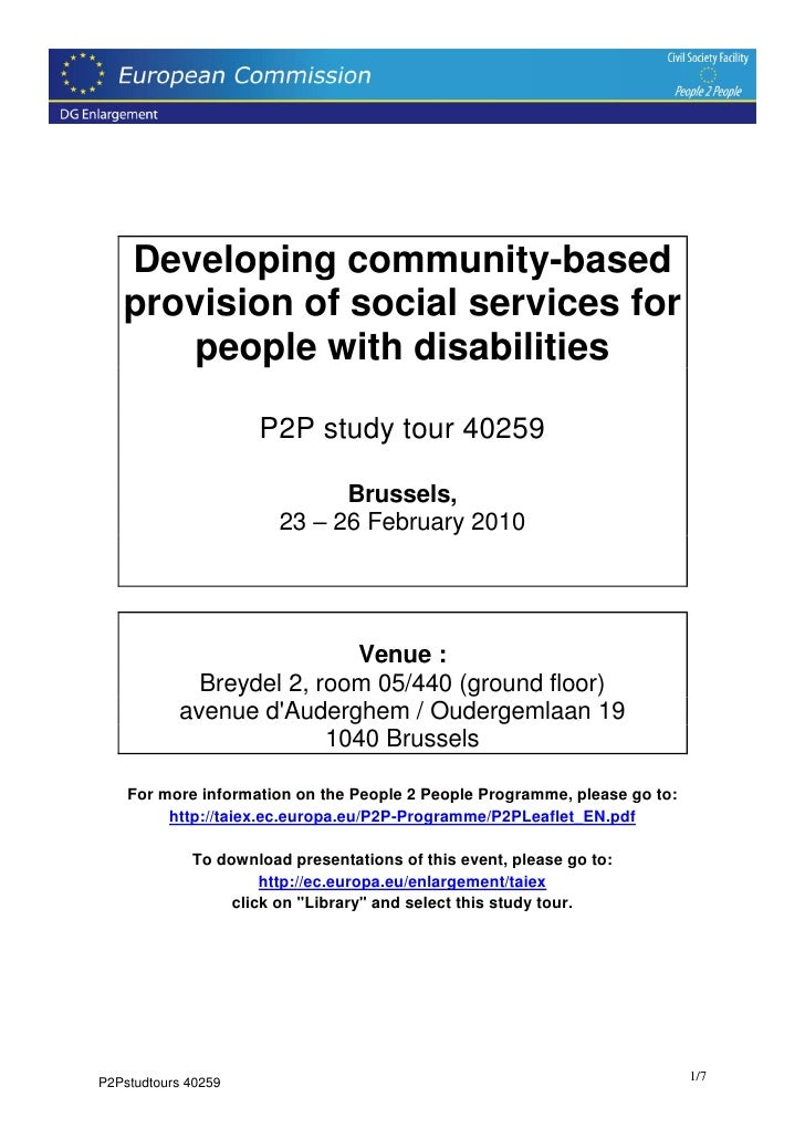 Developing community-based    provision of social services for        people with disabilities                       P2P s...