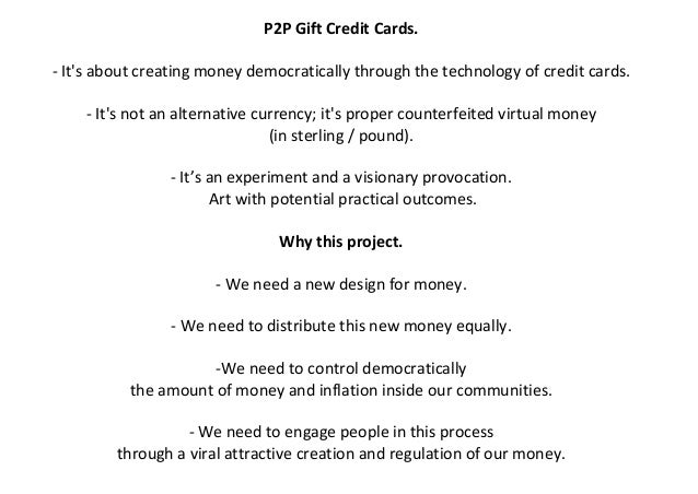 P2P Gift Credit Card & Gift Finance
