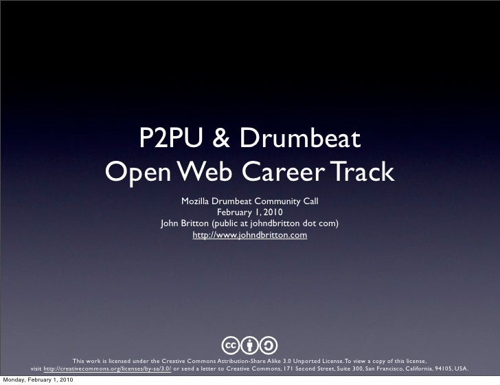 P2PU & Drumbeat                                    Open Web Career Track                                                  ...