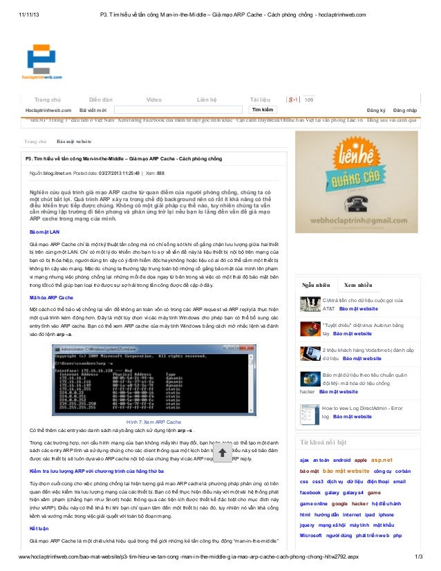 11/11/13  P3. Tìm hiểu về tấn công Man-in-the-Middle – Giả mạo ARP Cache - Cách phòng chống - hoclaptrinhweb.com  Trang ch...