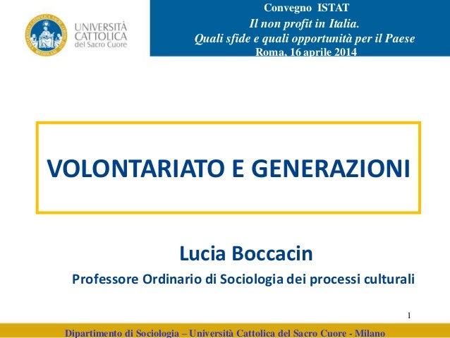 Dipartimento di Sociologia – Università Cattolica del Sacro Cuore - Milano Lucia Boccacin Professore Ordinario di Sociolog...