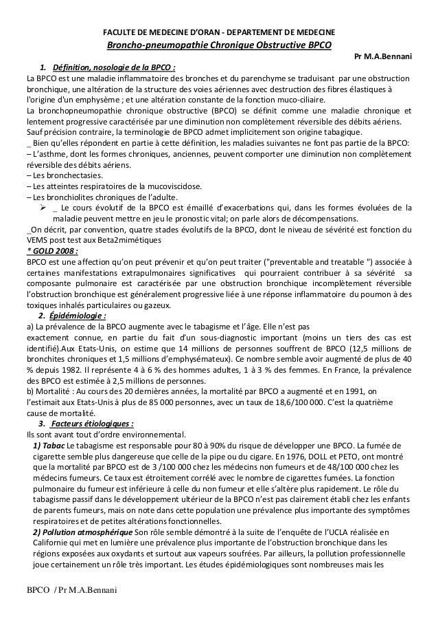 BPCO / Pr M.A.Bennani FACULTE DE MEDECINE D'ORAN - DEPARTEMENT DE MEDECINE Broncho-pneumopathie Chronique Obstructive BPCO...