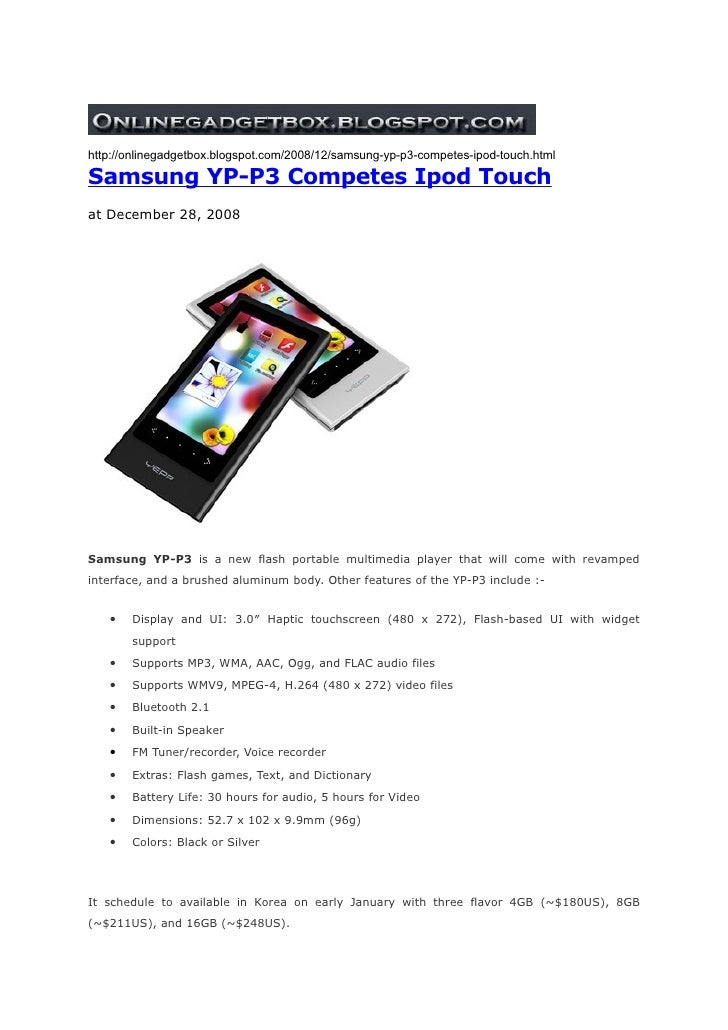 Onlinegadgetbox tells YP-P3 Competes Ipod Touch