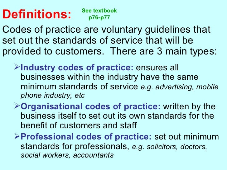 What are the 'Voluntary codes of practice'?