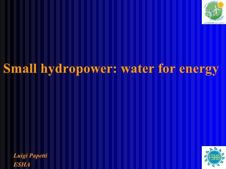 Small hydropower: water for energy   <ul><ul><li>Luigi Papetti </li></ul></ul><ul><ul><li>ESHA </li></ul></ul>