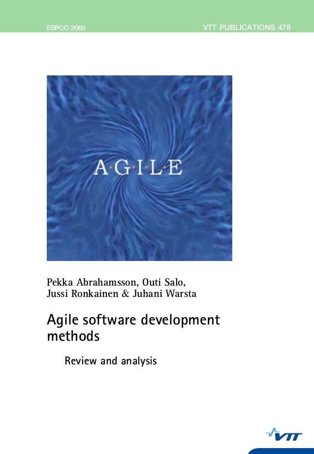 VTTPUBLICATIONS478Agilesoftwaredevelopmentmethods.ReviewandanalysisTätä julkaisua myy Denna publikation säljs av This publ...
