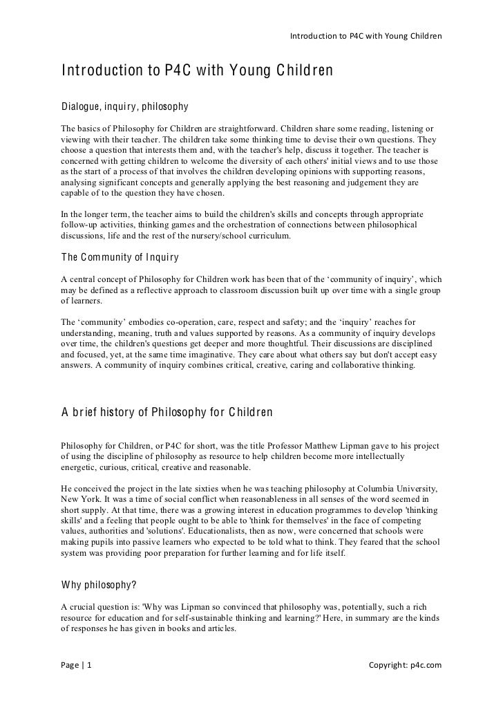 Introduction  to  P4C  with  Young  Children     Introduction to P4C with Young C hildren  Dialogue, inquiry, philosophy  ...