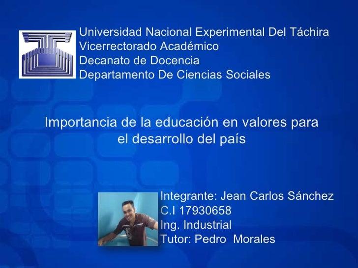 Universidad Nacional Experimental Del TáchiraVicerrectorado AcadémicoDecanato de DocenciaDepartamento De Ciencias Sociales...