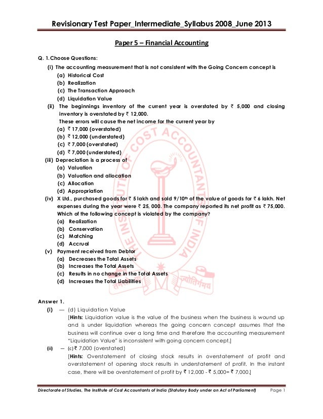 Revisionary Test Paper_Intermediate_Syllabus 2008_June 2013Directorate of Studies, The Institute of Cost Accountants of In...