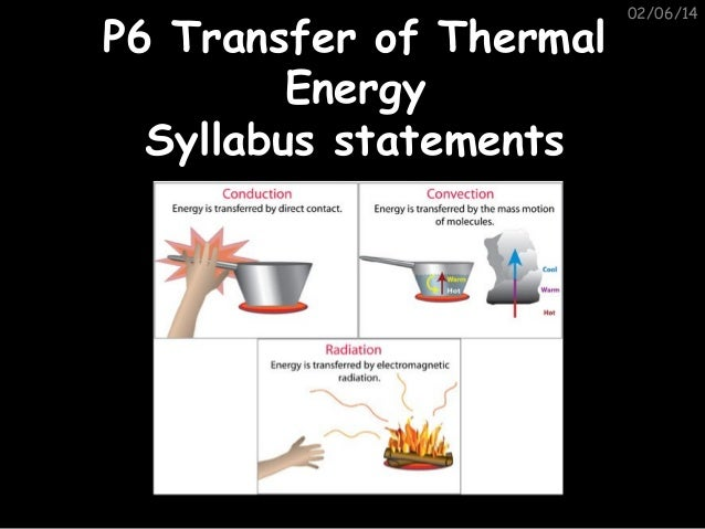 P6 Transfer of Thermal Energy Syllabus statements  02/06/14